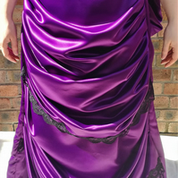 Hand made Victorian bustle skirt in purple duchess satin