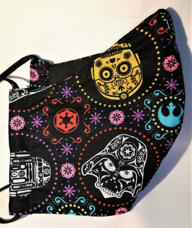 Face mask reusable triple layer 100% cotton star wars printed cotton hand made
