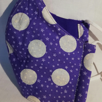 Face mask reusable triple layer 100% cotton purple, large white spots and stars