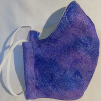 Face mask reusable triple layer 100% cotton purple with silver pattern