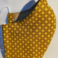 Face mask reusable triple layer 100% cotton mustard yellow with brown diamonds