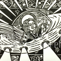 Westward Leading - We Three Kings - Angel Flying a UFO - Black and White version