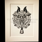 Krampus Head in Black and White - Limited Edition - Linoprint