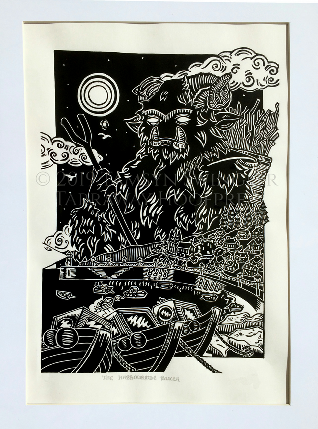 The Harbourside Bucca - Cornish Spirit - Limited Edition Lino Print - Black
