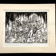 The Sinner's Procession - Original Limited Edition Lino Print - Black and White