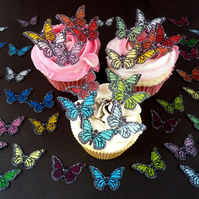 20 Pre-cut Edible Pastel Mix Butterflies for cakes and cupcake toppers