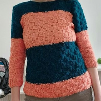 Jumper Peach and Petrol Hand Knit