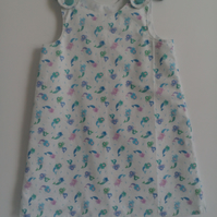 Age 3 years, A line dress, Summer dress, mermaids, cotton dress