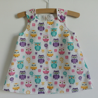 12-18 months, A line dress, summer dress, owls, polycotton