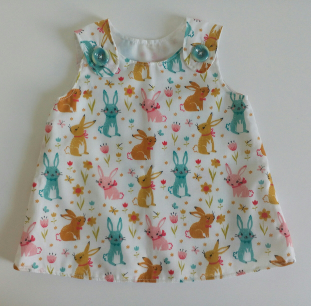 3-6 months, dress, rabbits, Summer dress, A Line dress,