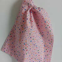 P.E bag, toy storage bag, stars, pink, back to school, drawstring bag for girls