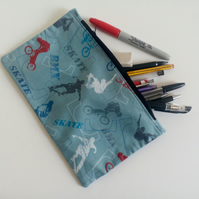 Pencil case, zipper pouch, lined cotton bag, back to school, drawing, boys