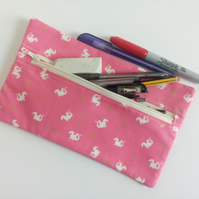 Pencil case, zipper pouch, lined cotton bag, back to school, drawing, dragons