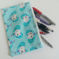 Pencil case, zipper pouch, back to school, drawing, cats, crafters gift, bag.