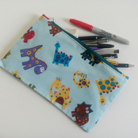 Pencil case, zipper pouch, back to school, drawing, dinosaurs,