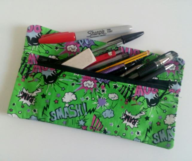 Pencil case, zipper pouch, cotton bag, back to school, drawing, green, teens