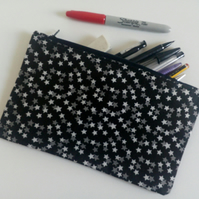 Pencil case, zipper pouch, back to school, drawing, crafters gift, bag, stars