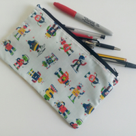Pencil case, zipper pouch, back to school, drawing, robots