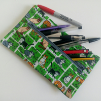 Pencil case, zipper pouch, back to school, drawing, crafters gift, cats, green