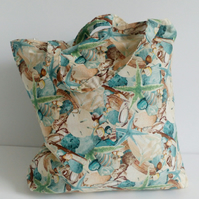 Shopping bag, cloth bag, fabric bag, tote bag, grocery bag, seashells