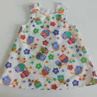18-24 months, A Line dress, Summer dress, pinafore, owls, dress
