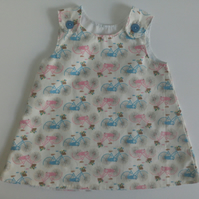 6-12 months, Summer dress, A line dress, pinafore, Dress, Bicycles