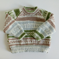 3-6 months, hand knitted sweater, jumper, self patterned yarn, green, beige