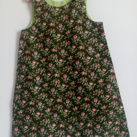 Age 4 years, A line dress, flowers, needlecord, corduroy pinafore, dress