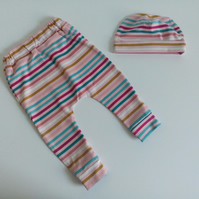 0-3 months, slouchy leggings and hat set, pink stripe design, newborn gift