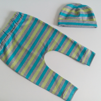 3-6 months, slouchy leggings and hat set, bluestripe design, baby clothes