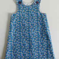Age 3 years, A line dress, needlecord, pinafore, blue, flowers