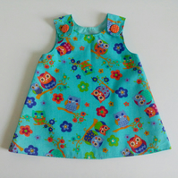 6-12 months, Summer dress, A line dress, pinafore, Owls, Dress