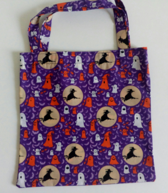 Trick or Treat bag, Halloween bag, bag for sweets, tote bag, witches, ghosts