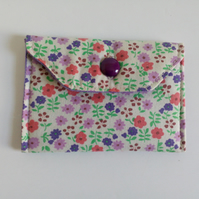 Loyalty card holder, floral purse, envelope style purse,  button fastener