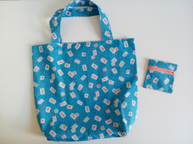 Tote bag and purse gift set, shopping bag, cloth bag, purse, reversible tote,