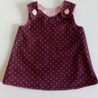 0-3 months, needlecord, A Line dress with polka dots,  pinafore, Burgundy
