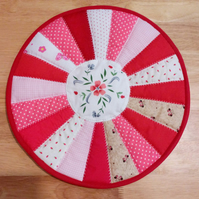 Placemat, red, Table mat, quilted, patchwork, table centrepiece, home decor