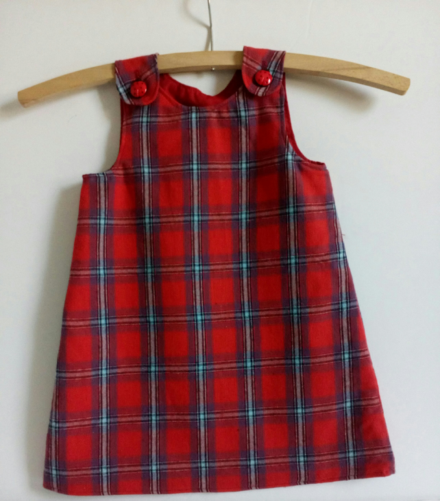 Age 2 years, Tartan, brushed cotton, A line dress, pinafore, Red