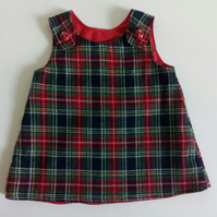 0-3 months, Tartan,  A Line dress,  pinafore, winter dress, brushed cotton