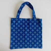 Eco christmas, cotton bag, Christmas gift bag, gift wrap, blue gift bag