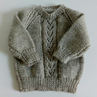 3-6 months, hand knitted sweater, jumper, stone, button neck fastening, sweater