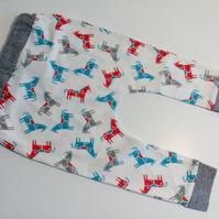 6-12 months, slouchy leggings, Horses design, baby trousers