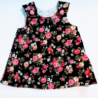 3-6 months, A Line dress,  pinafore, dress, black and pink floral