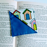 Corner bookmark, bookmark, gift for teacher, gift for book lover, beach huts