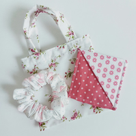 Gift set, pink floral gift bag, scrunchie, bookmark, Birthday, Mother's Day