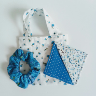 Gift set, blue floral gift bag, scrunchie, bookmark, Birthday, Mother's Day