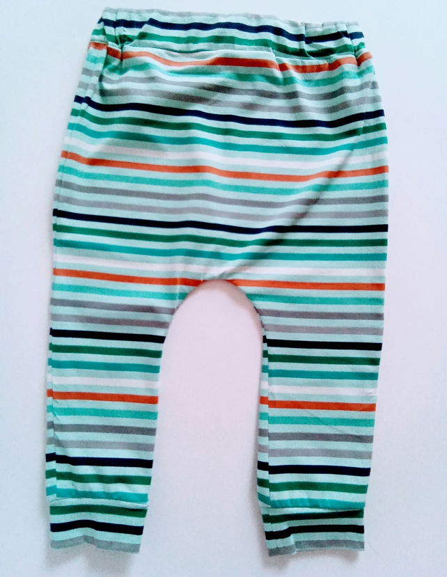 6-12 months, stripey, slouchy leggings, baby trousers, pale blue stripe