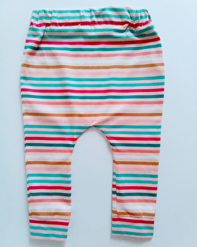 6-12 months, slouchy leggings, pink, stripes, baby trousers, leggings