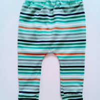 3-6 months, slouchy leggings, blue stripe design, baby clothes, trousers