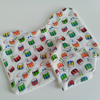 Burp cloth and bib set, drum design, baby burp cloth, bandana bib, baby gift